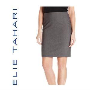 Elie Tahari Grey Wool Blend Skirt